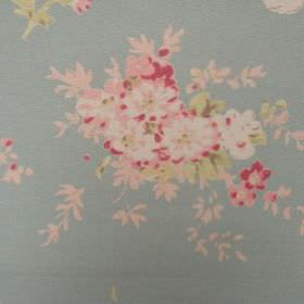 Florence Grande - Duck Egg - Small flowers in shades of pink and off-white, with tiny green leaves on an oyster linen fabric background in l