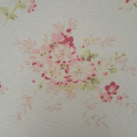 Florence Grande - Rhubarb - Oyster linen fabric printed with a floral pattern in very pale pastel shades of pink, green and blue-grey