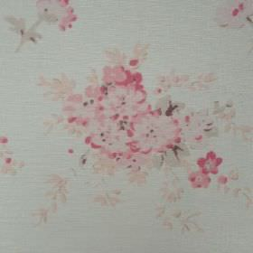 Florence Grande - Faded Pink - Subtle pale pink flowers on very pale oyster linen fabric in a blue-grey colour