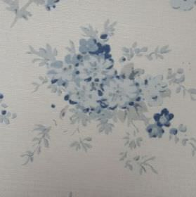 Florence Grande - Indigo - Shades of blue and grey making up the pattern of small flowers on this oyster linen fabric