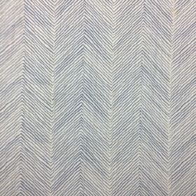 Herringbone - Faded Indigo - Off-white and navy blue coloured 100% linen fabric featuring a large, thin herringbone print