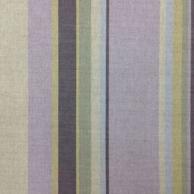 Holkham - Citrine and Grey - Vertically striped natural linen union fabric made in indigo, mauve, baby blue and various light shades of blue
