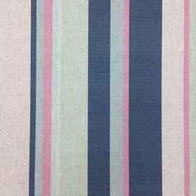Holkham - Pink and Ink - Natural linen union fabric featuring a fun vertical stripe design in fresh grey, blue and pink shades