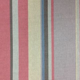Holkham - Red and Grey - Rose pink, dark grey, icy blue, beige, pale grey, marine blue and mauve vertical stripes on natural linen union fab