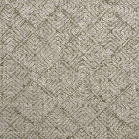 Latika - Olive - Olive green coloured squars and geometric shapes made up of thin lines printed on grey fabric made from 100% linen