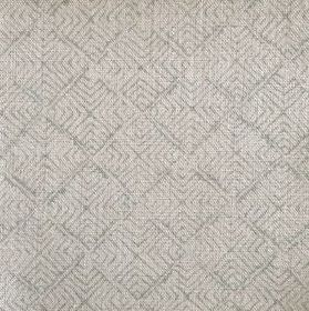 Latika - Faded Duck - 100% linen fabric in two shades of grey, with a repeated pattern of thin lines making up squares and geometric shapes