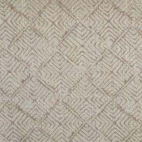 Latika - Fudge - Concentric grey squares printed in a repeated pattern on light grey 100% linen fabric