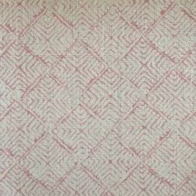 Latika - Faded Pink - Fabric made from 100% linen in light grey, printed with concentric light pink squares