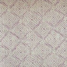 Latika - Lavender - Purple lines making up a concentric square pattern on light grey coloured 100% linen fabric