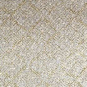 Latika - Citrine - An olive green design of lines making up concentric squares on fabric made from 100% linen in light grey
