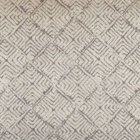 Latika - French Grey - Light grey coloured 100% linen fabric with a pattern of dark grey lines arranged in concentric squares