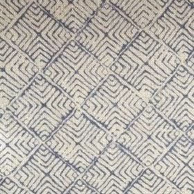 Latika - Indigo - Dark blue and cream coloured linen fabric with a pattern of thin lines making up concentric squares