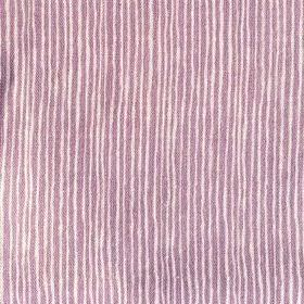 Majolica Stripe - Laveder - Very narrow stripes in purple and a very pale pink-white colour printed unevenly on 100% linen fabric