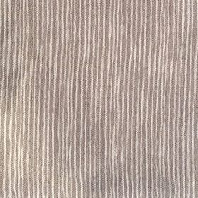 Majolica Stripe - French Grey - Brown and cream coloured 100% linen fabric with an uneven striped design