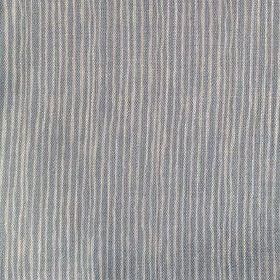 Majolica Stripe - Sky - Stripes in dark blue-grey and cream running unevenly down 100% linen fabric