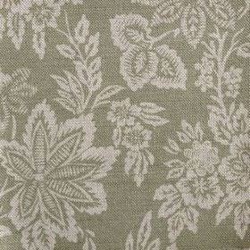 Orissa - Olive - A pattern of grey leaves and flowers against a forest green coloured background of linen fabric