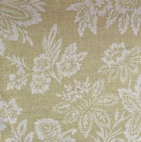 Orissa - Citrine - Leaf and flower print linen fabric in light green and chalk white