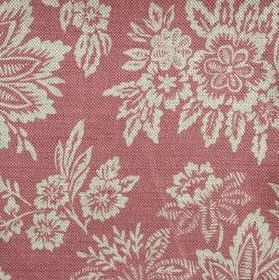 Orissa - Faded Red - Linen fabric in dusky red, with a pattern of cream coloured leaves and flowers