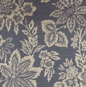 Orissa - Faded Indigo - Large cream coloured flowers and leaves on a dark blue linen fabric background