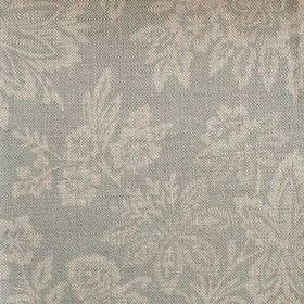 Orissa - Faded Duck - Fabric made from linen with a subtle yet large pattern of leaves and flowers in cream and light grey