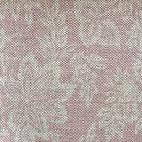 Orissa - Faded Pink - Pale pink linen fabric as a background to a large pattern of cream coloured leaves and flowers