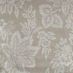 Orissa - Fudge - Two different shades of grey making up a large leaf and floral pattern for this fabric made from linen