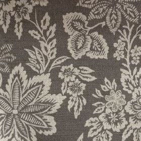 Orissa - Charcoal - Black and light grey coloured linen fabric patterned with fairly large leaves and flowers
