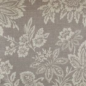Orissa - French Grey - Cream-grey flowers and large leaves on a background of battleship grey coloured linen fabric