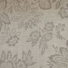 Orissa - Natural - Linen fabric in green-grey, with a dark grey pattern of large leaves and slightly smaller flowers