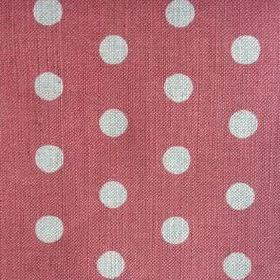 Polka Dot - Scarlet - Large polka dots in such a pale shade of grey that it is almost white, on red fabric made from linen