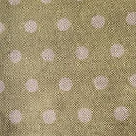 Polka Dot - Apple - Fairly large grey-beige polka dots on a background of olive green coloured linen fabric