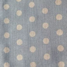 Polka Dot - Sky - Light blue and off-white coloured polka dot fabric made from linen