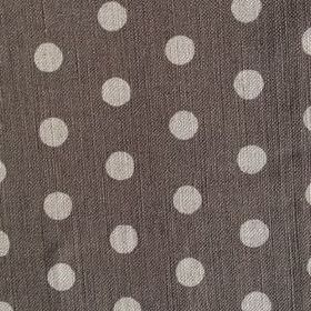 Polka Dot - Charcoal - Very pale grey polka dots on very dark grey coloured fabric made from linen