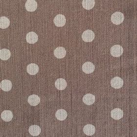 Polka Dot - Mocha - Dark brown linen fabric patterned with rows of light grey polka dots