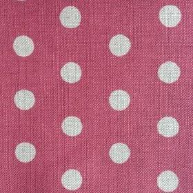 Polka Dot - Cherry - Deep scarlet and very pale grey coloured linen fabric with a fairly large polka dot pattern