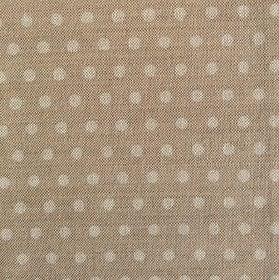Polka Dot - Fudge - Polka dot patterned linen fabric in two different shades of light brown with a gold hue