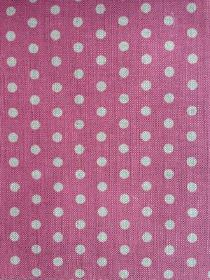 Polka Dot - Peony - Light grey polka dots on a dark pink coloured linen fabric background