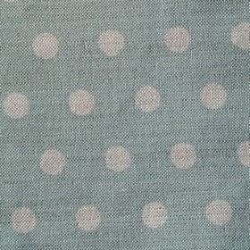 Polka Dot - Duck Egg - Teal-blue and grey coloured polka dot fabric made from linen