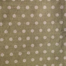Polka Dot - Olive - Olive green and beige linen fabric with a pattern of polka dots