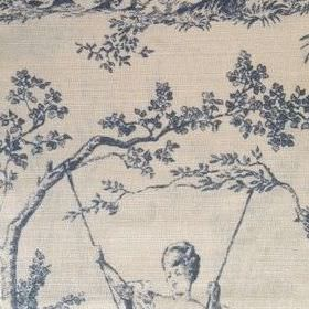 Pompadour Toile - Ink - Dark blue shaded scenes of trees and women suspended on swings, on oyster linen fabric in light grey
