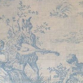 Pompadour Toile - Sky - People and plants in outdoor scenes shaded in light blue on light grey coloured oyster linen fabric