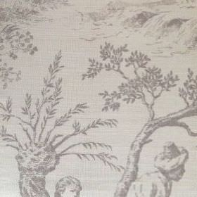 Pompadour Toile - French Grey - Grey shaded people, plants, trees and outdoor scenes shaded on fabric made from very pale grey coloured oyst