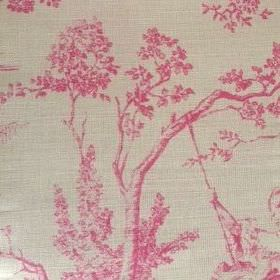 Pompadour Toile - Peony - Light grey coloured oyster linen printed with scenes of trees and people which have been shaded in pink