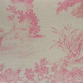 Pompadour Toile - Ballerina - Detailed light pink shaded images of pillars, trees, leaves and flowers on oyster linen in a very pale grey co
