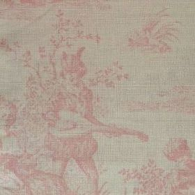 Pompadour Toile - Old Pink - Subtly patterned oyster linen with pale pink shaded scenes of people, instruments and the outdoors on a grey ba