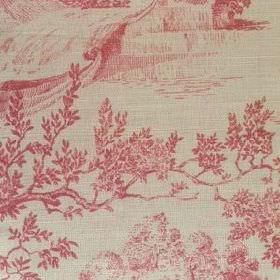 Pompadour Toile - Cherry - Dusky red and beige coloured oyster linen with a design of shaded landscapes and trees