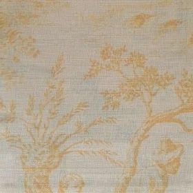 Pompadour Toile - Custard - Pale grey oyster linen featuring scenes of people, plants and trees in a very subtle honey yellow colour