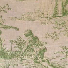 Pompadour Toile - Lime - People and plants shaded in green on a grey-beige coloured oyster linen fabric background