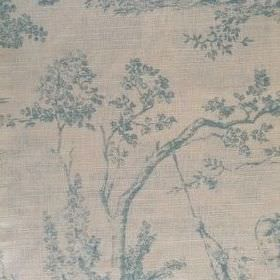Pompadour Toile - Duck Egg - Pale shades of blue and grey making up this oyster linen fabric