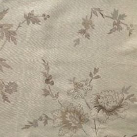 Rupali - Faded Natural - Shiny fabric made from 100% linen, patterned with flowers, leaves and vines, all in shades of cream and grey